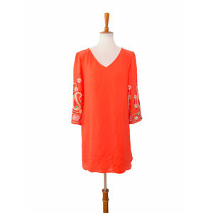 Fig and Flower Floral Embroidered Tunic Large